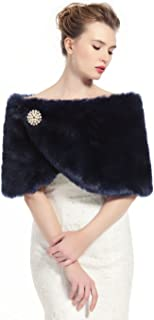 Faux Fur Shawl Wrap Women's Bridal Winter Wedding Party Shrug Free Brooch (12 colors) by BEATELICATE