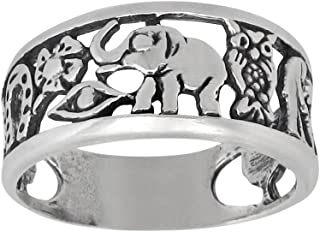 eJewelryPlus Lucky Ring Sterling Silver Oxidized Good Luck Elephant Clover Horseshoe Owl Seven Evil Eye 4 Leaf