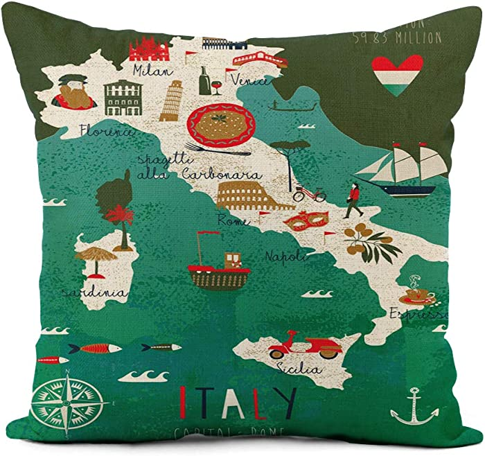 rouihot Linen Throw Pillow Cover Venice Italy Map Travel Food Italian Rome Florence Mediterranean Home Decor Pillowcase 20x20 Inch Cushion Cover for Sofa Couch Bed and Car