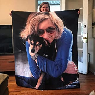 SOUFEEL Personalized Throw Blanket with Photos Custom Blankets with Pictures Printing Photo Super Soft Flannel Blanket Bir...