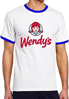 Crazy Bunny Men's Cool Wendy's Logo Contrast Ringer Tshirt