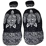 Hawaiian car seat cover with Separated Headrest, Gray Big Turtle, Set of 2 Front Bucket Seat Covers, Made in Hawaii