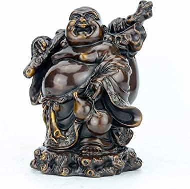 HYBAUDP Statues Home Decoration Crafts Laughing Buddha Statues,Pure Brass Chinese Feng Shui Decor Home Office Wealth Good Luc