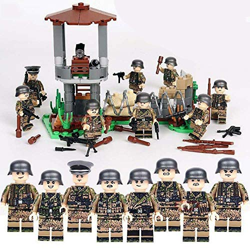12Pcs Armed SWAT Building Blocks, Blood-line World War II Military Figure...
