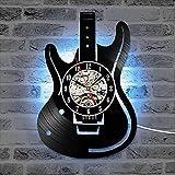 ZYYSYZSH Reloj De Pared De Vinilo Decoración De La Pared Guitarra CD Relojes Decoración para El Hogar Silent Hanging Clock para Music Lover con Led