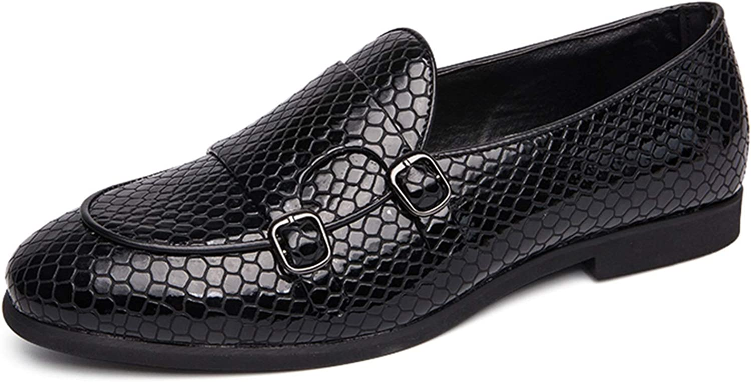 Battle Men Double Monk Straps Toe Animer and price revision Loafer Snakeskin safety for Round