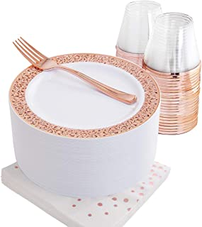 NERVURE 50PCS Rose Gold Small Plastic Plates7.5