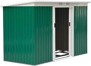 comprar comparacion Outsunny Caseta de Jardín Tipo Cobertizo Metálico para Almacenamiento de Herramientas Base Incluida 277x130x173cm Acero