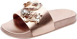 Severkill Womens Glitter Bling Fancy Slide Flat Low Wedge Sparkle Sandals Wide Rhinestone Shoes Dream