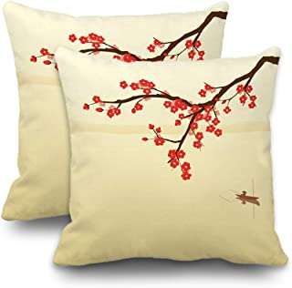 Batmerry Winter Pillow Covers 18x18 Inch Set of 2, Red Japanese Plum Blossom in Chinese Painting Style Double Sided Decorative Pillows Cases Throw Pillows Covers