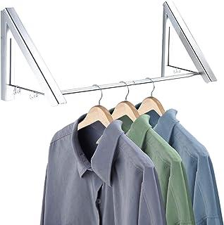 JOHNWOOD 格納式衣類ラック 壁掛け 折りたたみタオル 乾燥ラック ハンガー オーガナイザー クローゼット 浴室 寝室用 シルバー