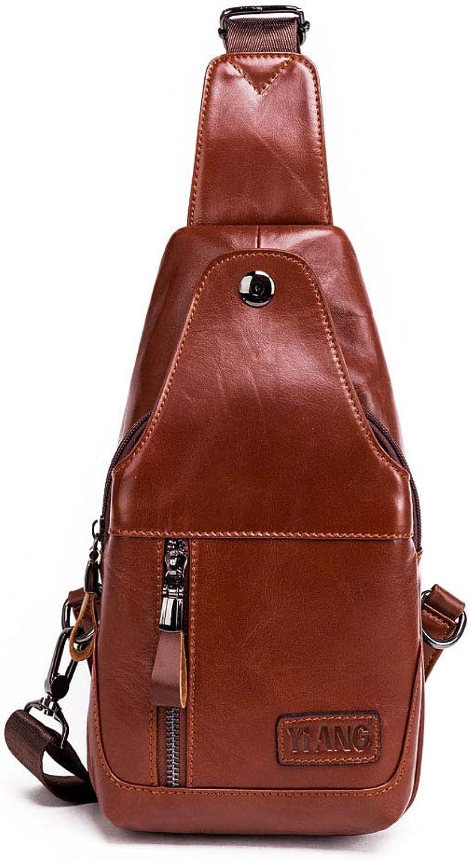 Jonon Men's Leather Sling Bag Chest Bag One Shoulder Bag Crossbody Bag Backpack Men