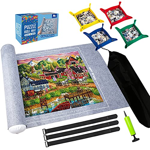 Puzzle Mat Roll Up,Hold up to 1500 Pieces,with 4 Folding Jigsaw Sorting Tray, Hand Pump, Inflatable Tube, 45.7