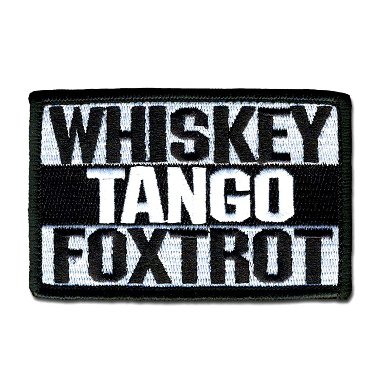 Bastion Tactical Combat Badge Military Hook and Loop Badge Embroidered Morale Patch - Whiskey Tango Foxtrot (Black)