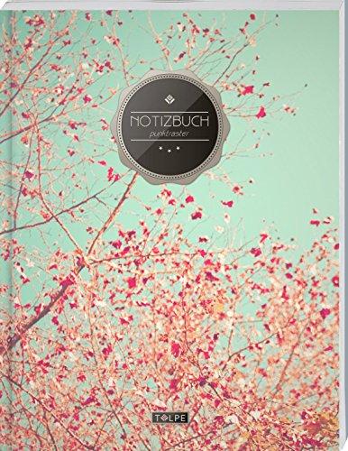 """TULPE Punktraster Notizbuch A4 """"C032 Frühlingstraum"""" (140+ Seiten, Vintage Softcover, Punktkariertes Papier - Bullet Journal, Dickes Notizheft, ... Gepunktete Seiten, Dot Grid Notebook)"""