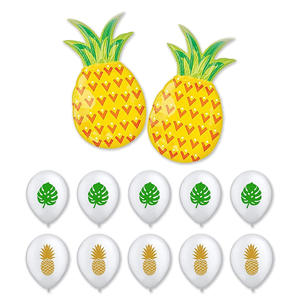 BALONAR Summer Party Pineapple Balloons for Birthday Party Summer Luau Party Hawaiian Party Decoration Fruit Balloons for Baby Shower Tropical Party Supplies Summer Banner with Pineapples and Pin