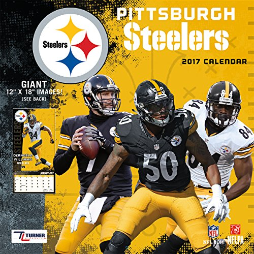 """Turner Licensing Sport 2017 Pittsburgh Steelers Team Wall Calendar, 12""""X12"""" (17998011923)"""