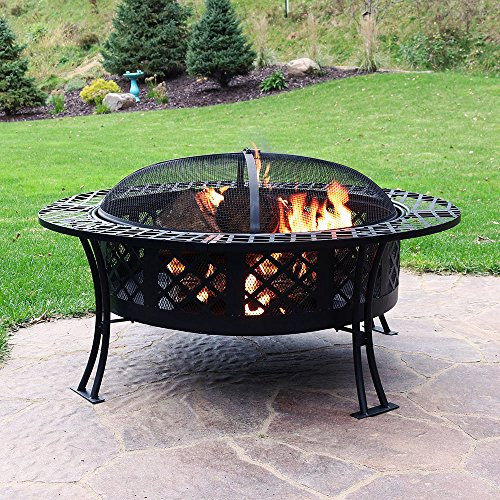 Sunnydaze Diamond Weave Outdoor Fire Pit - Large 40 Inch Round Wood Burning Backyard & Patio Firepit Bowl - Durable Spark Screen and Fireplace Poker