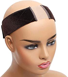 Lace Wig Grip Band 1 Package Velvet Wig Comfort Head Hair Band Extra Hold Wig Headband Adjustable Women Hair Scarf with Lace Part for Lace Wigs and Frontals(Brown)