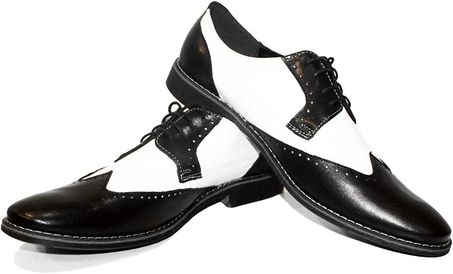 Modello Capones Due - Handmade Italian Leather Mens color White Oxfords Dress shoes - Cowhide Smooth Leather - Lace-Up
