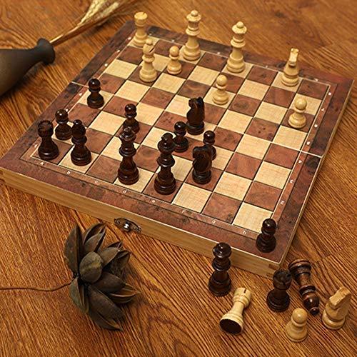 Scacchiera in legno-pezzi degli scacchi fatti a mano-scacchiera-ripiegabile-spazio di archiviazione interno-comodo per viaggiare-pezzi degli scacchi in legno aggiuntivi su feltro
