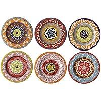Juego de 6 Platos de Ensalada Estilo mediterráneo Colores Mezclados Nador Mucho X6