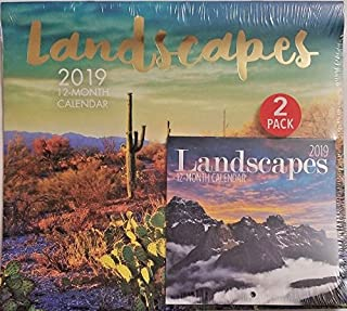 2 Pack of 12 Month 2019 Wall Calendars Landscapes