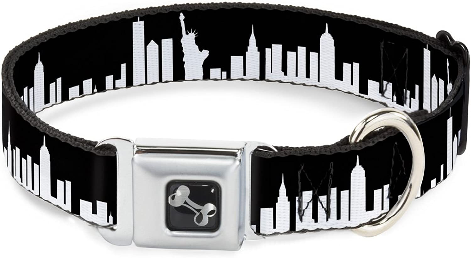 BuckleDown DCW31443L Dog Collar Seatbelt, New York Solid Skyline Black White, 1  x 1526