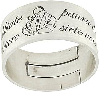 Anello Uomo Donna con Preghiera Frase del Papa incisa in Argento 925 Anelli Idea Regalo Cresima Comunione Gioelli