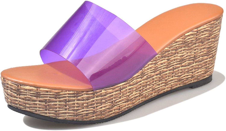 Giles Jones Wedges Flip Flops Sandals for Women,Classic Transparent Flat Platform Beach Slipper shoes
