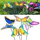Gartenstecker Schmetterling 4er Set │ Höhe 60 cm bunt │Dekostecker mit bewegliche Flügeln Gartendekoration