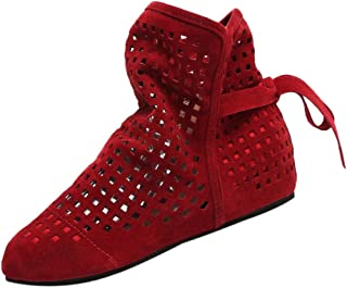 Booties For Womens Clearance Sale ,Farjing Women Boots Flat Low Hidden Wedges Cutout Ankle Boots Casual Shoes Cute Booties