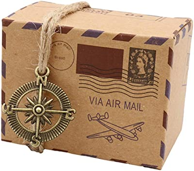 TraveT 50 Pcs Candy Gift Boxes, DIY Kraft Boxes Retro Post Mail Style Wedding Party