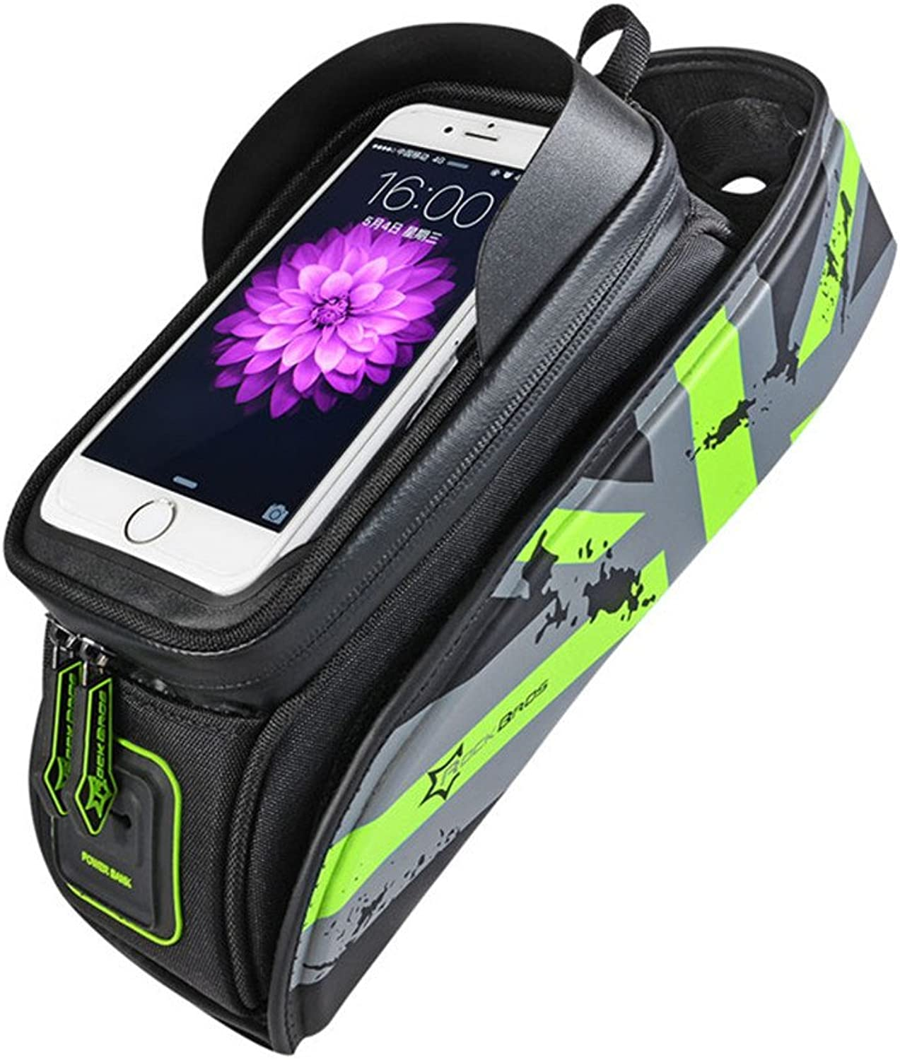 HDSHKSA MTB Road Bicycle Bags Touch Screen Top Front Tube Frame Phone Case Bike Accessories Handlebar Green S