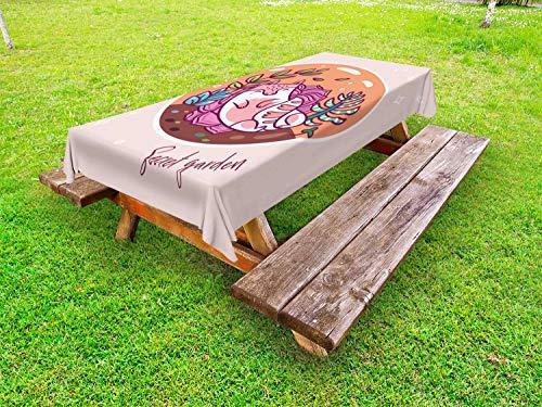 ABAKUHAUS Slaap Tafelkleed voor Buitengebruik, Succulent Garden Terrarium, Decoratief Wasbaar Tafelkleed voor Picknicktafel, 58 x 120 cm, Veelkleurig