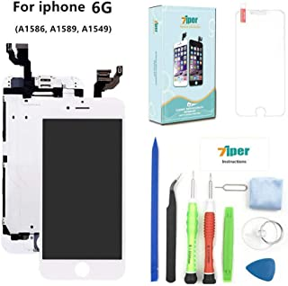 Screen Replacement Compatible iPhone 6 (4.7 inch) - LCD Display Touch Digitizer Assembly Set with Proximity Sensor, Front Camera, Earpiece, Tempered Glass, Repair Tools and Instruction (White)
