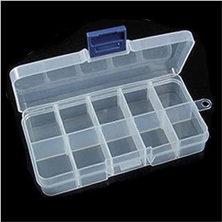 Shelf LWB Joyería de plástico Transparente Caja de Pendiente for el Anillo Ajustable 24 Caso rectángulo Compartimento de A...