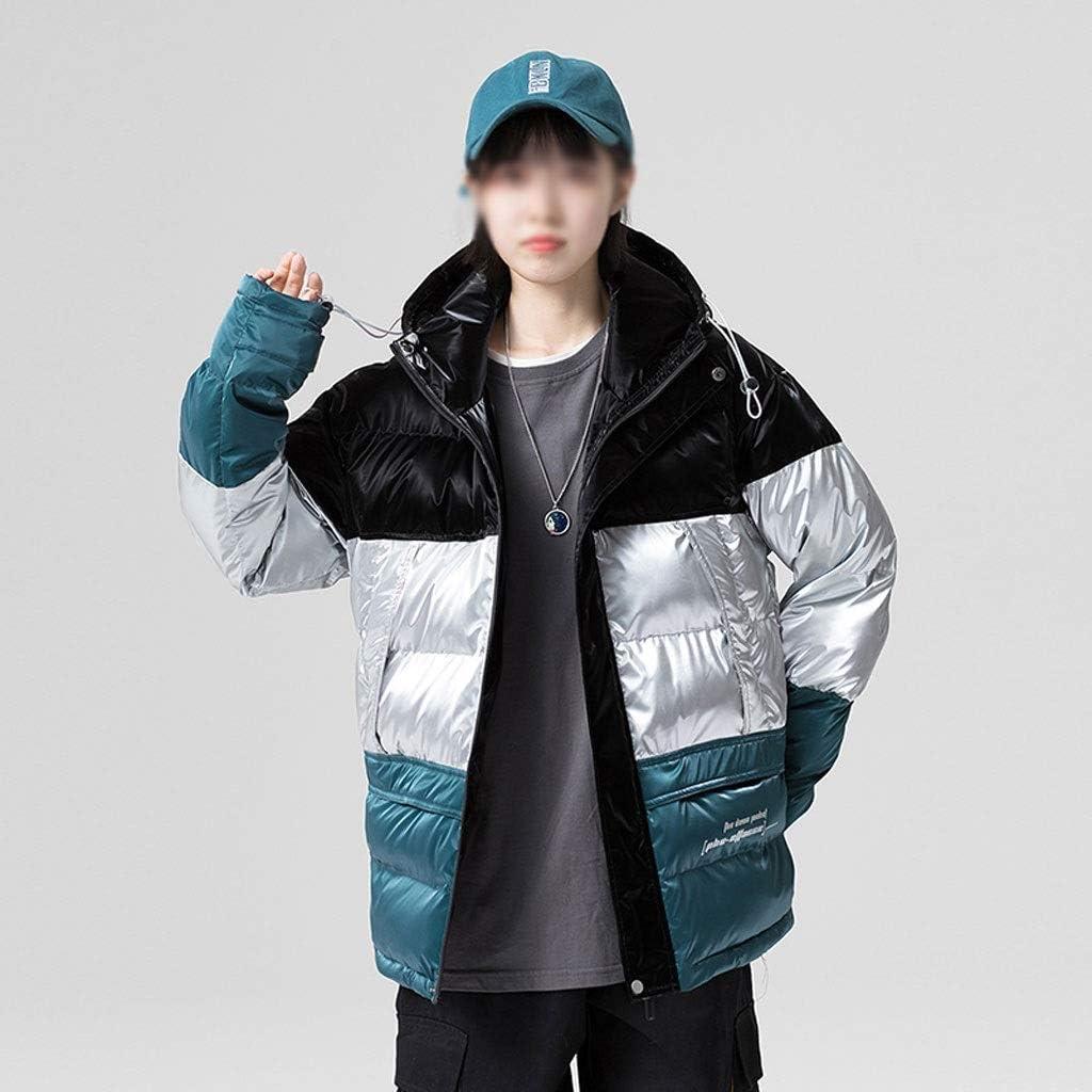 TWDYC Winter Patchwork Down Jacket Men Winter Down Coats Mens Thick Warm Jacket Streetwear Outerwear Clothing (Color : Black, Size : XXX-Large)