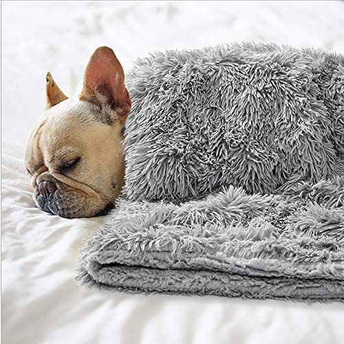 BENRON Premium Fluffy Pet Blanket for Small Medium Large Dogs, Cozy Reversible Sherpa Dog Blankets, Machine Washable, Soft, Warm Pets Throw Blanket 20x30 Inches Gray