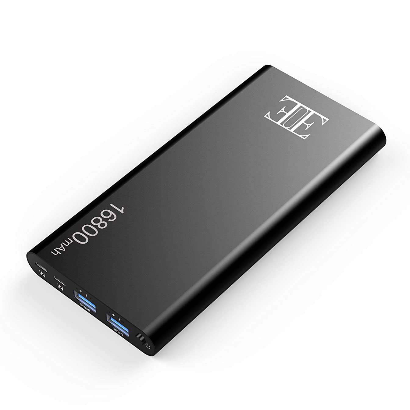 Eui 16800mAh External Battery,2 USB Outputs Portable Charger Power Bank with Type C Input,Aluminum Shell, Intelligent Charging Tech for iPhone, iPad and Android Devices. (Black)