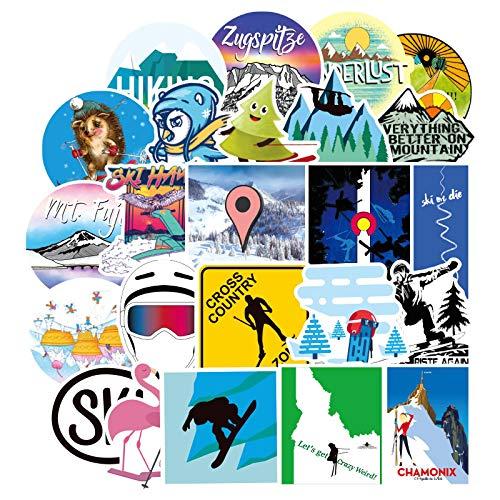 HHSM Pegatinas para equipaje de esquí; material impermeable personalizado para decoración de ordenador, pegatinas para guitarra, cuaderno, pegatinas divertidas 70 unidades