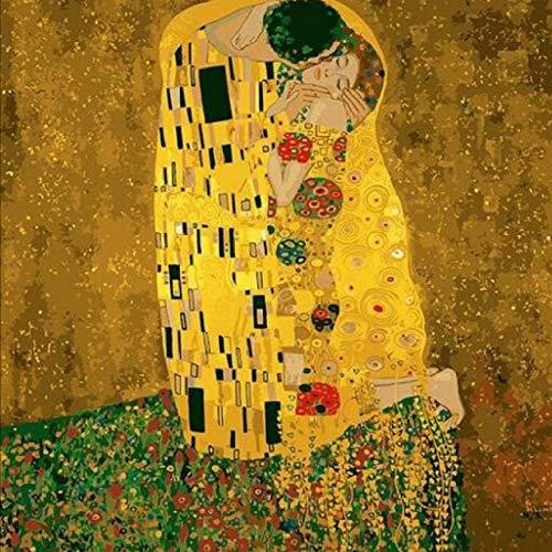 Ölgemälde von Numbers Gustav Klimt Der Kuss - Malen nach Zahlen Kits für Erwachsene DIY 2058 Home Haus Dekor-Without Frame