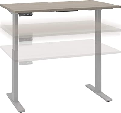Bush Business Furniture Move 60 Series Height Adjustable Standing Desk, 48W x 30D, Sand Oak with Cool Gray Metallic Base