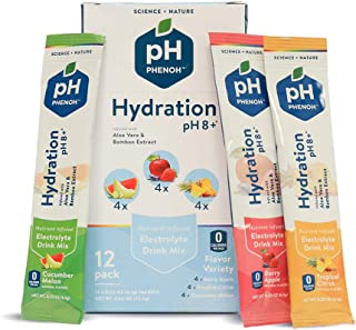Phenoh Hydration Nutrient Infused Alkaline Water Enhancer | Performance and Recovery | Plant Based | Electrolytes High Potassium | pH8+ | 0 Sugar, GMO Free | Keto Paleo Friendly | Variety 12 Pk