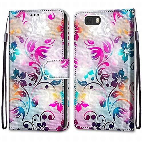 Laybomo Funda para Huawei P8lite / ALE-L21 Carcasa Cuero, Protectora PU Tapa Ranura para Tarjetas Prueba de Golpes con Soporte Plegable Silicona Carcasa Tapa para Huawei P8lite / ALE-L21, Pintar 2