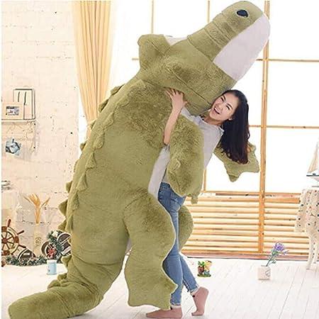 HYAKURIぬいぐるみ 特大 ワニ 可愛い熊 動物 大きい/巨大 ワニ/クマ抱き枕/お祝い/ふわふわぬいぐるみ (グリーン, 110cm)