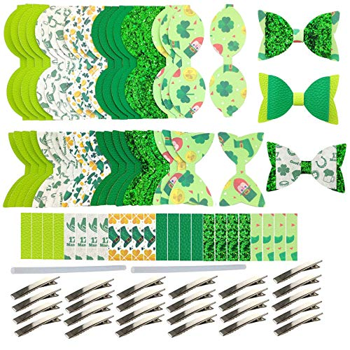 AOUXSEEM 97 Pieces 24 Set of Faux Leather Hair Bows DIY Making Kit for Beginner, Contains Pre Cut Vinyl Litchi Pattern St. Patrick's Day Printed Fabric Metal Alligator Hair Clips for Women Girls