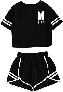 39bb01c931083 CAR-TOBBY Femme BTS Bangtan Boys Tee Shirt Short Ensemble Sport Deux Pièces  Bloom Army