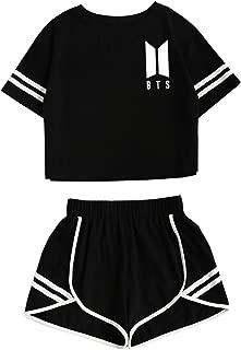 Women's 2019 BTS Crop Top and Shorts Set Bangtan Boys T-Shirt and Shorts JIN SUGA Jimin V Jungkook JHOPE
