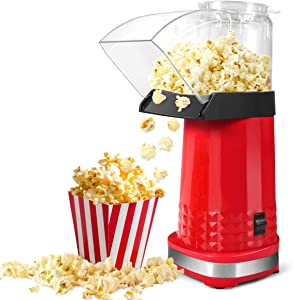 Hot Air Popcorn Maker, 1200W Electric Popcorn Machine, No Oil Need, 3 Minutes Fast Popcorn Popper, Top with Measuring Cup for Home, Family and Party